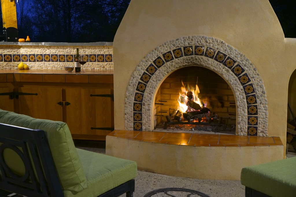 Wood burning adobe fireplace