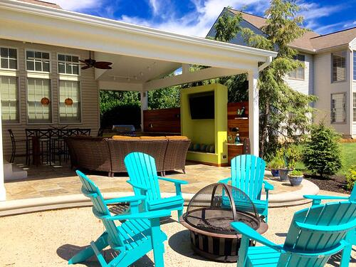 Covered patio with lower level fire pit