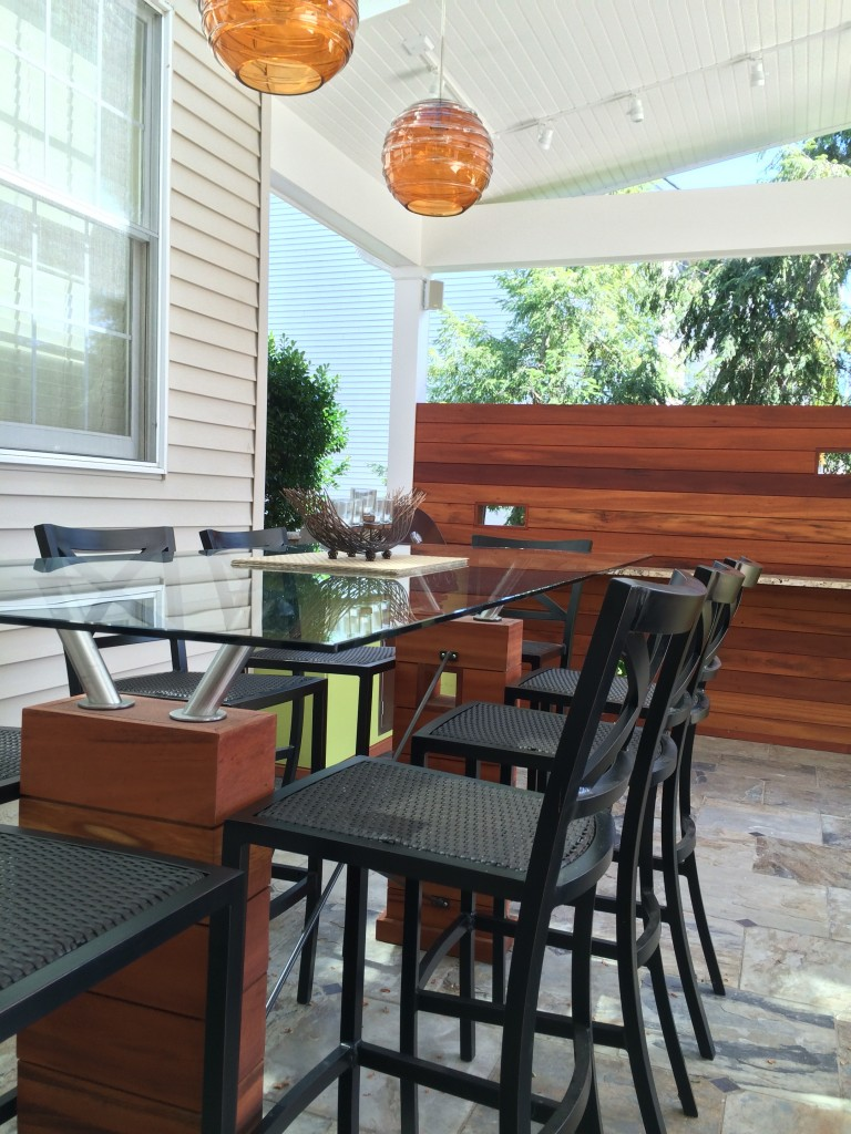 Custom built-in outdoor dining table.